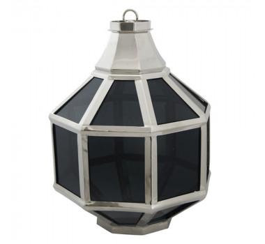 Lustre Lanterna em Metal Vidros Escuros