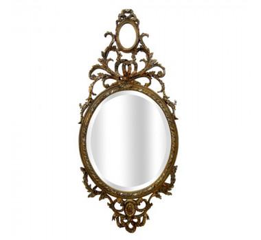 Espelho com Moldura Em Madeira Dourada Clássica