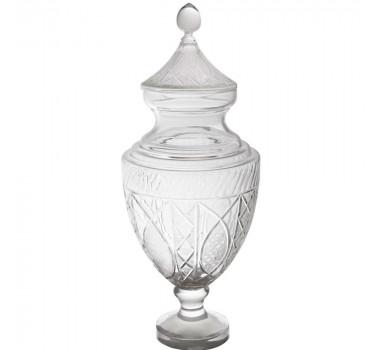 Potiche em Cristal com 14 a 16% de chumbo e detalhes em Alto Relevo 58x21 Cm