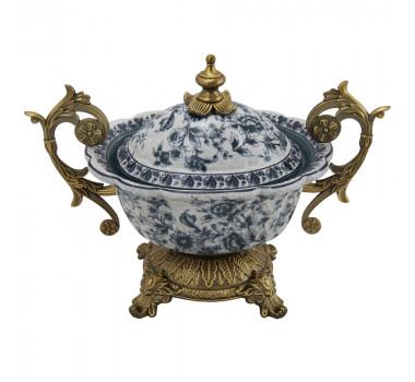 Potiche em Porcelana com Pintura Floral Azul e Apliques Arabescos em Bronze