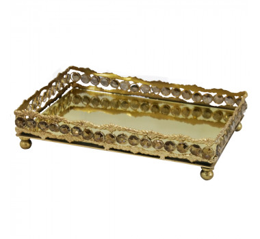 Bandeja em Metal Dourado Com Pingentes 6x28x18