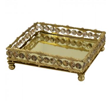 Bandeja em Metal Dourado Com Pingentes 7x21x21