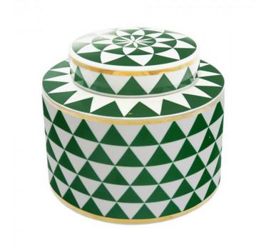 Potiche em Cerâmica Verde e Branco