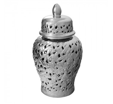 Potiche em Cerâmica Prata Detalhe Vazado