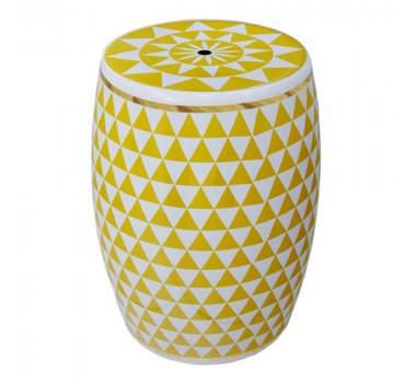 Garden Seat Amarelo E Branco Em Cerâmica