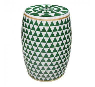 Garden Seat em Cerâmica Verde E Branco