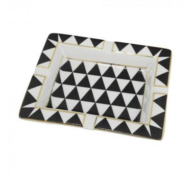 Cinzeiro Preto e Branco Detalhes em Dourado