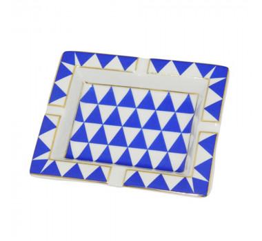 Cinzeiro Azul e Branco Detalhes em Dourado