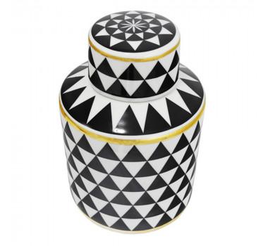 Potiche em Cerâmica Preto e Branco