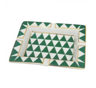 Cinzeiro Verde e Branco Detalhes em Dourado