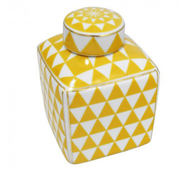 Potiche em Cerâmica Amarelo e Branco