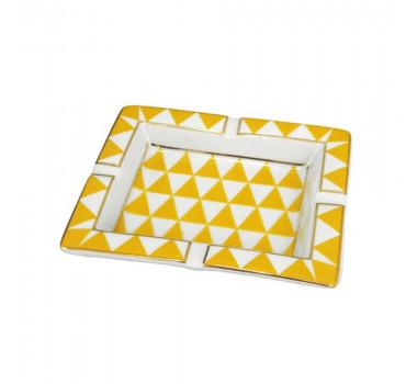 Cinzeiro Amarelo e Branco Detalhes em Dourado