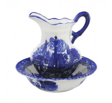 Jarro c/ Bacia em Porcelana Azul