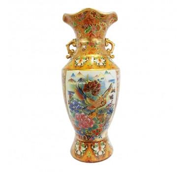 Vaso Em Cerâmica Satsuma Com Pintura de Araras
