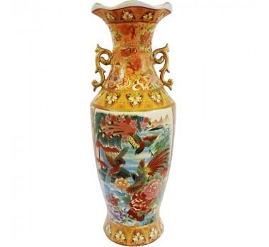Vaso Em Cerâmica Ocre Satsuma Com Pássaros