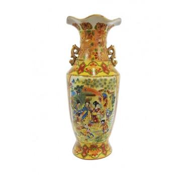 Vaso Em Cerâmica Ocre Satsuma com Pintura Gueixas e Crianças