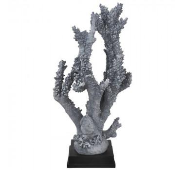 Coral Decorativo em Poliresina Azul Base Quadrada Preta