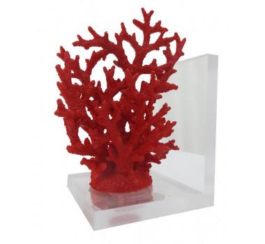 Coral em Poliresina Vermelho Com Suporte em Acrílico