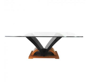 mesa-estilo-moderna-em-madeira-marrom-preta-tampo-em-vidro-80x107x210cm