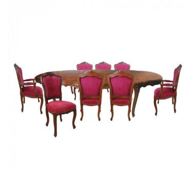 Mesa de Jantar em Madeira com 6 Cadeiras e 2 Poltronas