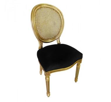 Cadeira Dourada com Estofado Preto Imperial