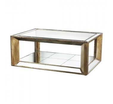 Mesa de Centro em Madeira Revestida com Espelho 53x90x130 cm