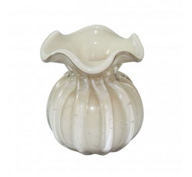Vaso Decorativo em Vidro Bege Pequeno - 11cm