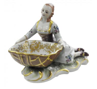Par de Saboneteira Damas em Porcelana Capo di Monte