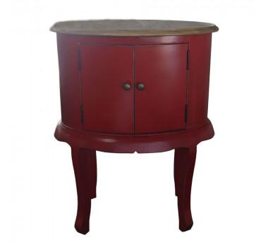 Mesa de Cabeceira Vermelha Oval com 2 Portas - 76x60x41cm
