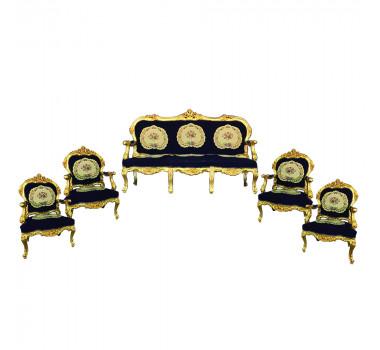 Jogo de Sofá Clássico Estilo Francês Luis XV Azul 4 Poltronas Folheado a Ouro