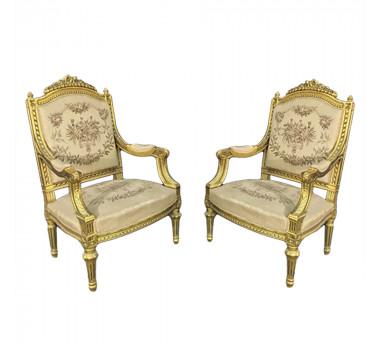 Par de Poltronas Luis XVI Folheada a Ouro Estofado Bege