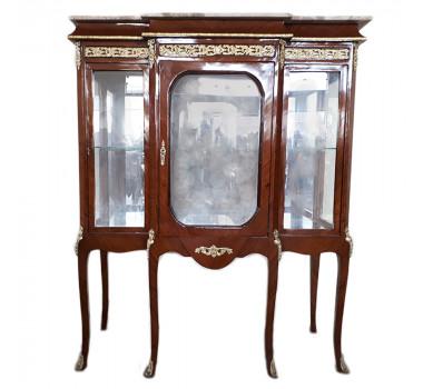 cristaleira-classica-luis-xv-francesa-tampo-em-marmore-crema-195x120x60cm