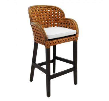 Cadeira Rattan em Madeira Estofado Branco