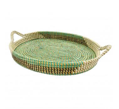 bandeja-decorativa-com-alcas-produzida-em-rattan-na-cor-verde-com-preto-11x67x37cm