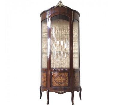 Cristaleira Francesa Estilo Luis XV de Madeira Marchetada - 193x94x53cm