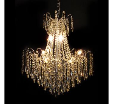 Lustre Clássico em Cristal 9 Lâmpadas 72 x 60 cm