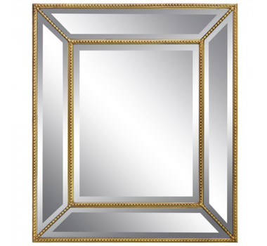 Espelho Pequeno Dourado Quadrado com Acabamento em Bisotê
