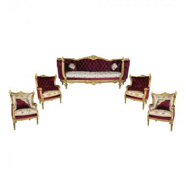 Jogo de Sofá Luis XVI 4 Poltronas Folheado a Ouro Capitonê