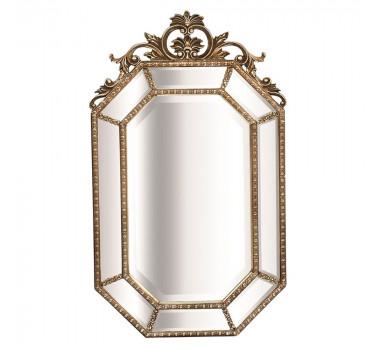 Espelho Moldura em Resina Acabamento Dourado e Relevo