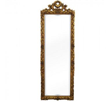 Espelho Em Madeira Entalhada Dourada Retangular Clássica