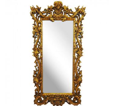 Espelho Moldura em Resina Dourado Detalhes em Relevo
