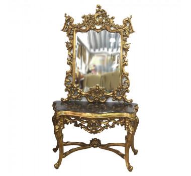 Aparador de Madeira Folheado em Ouro em Mármore Espelho Esculpido á Mão Royal
