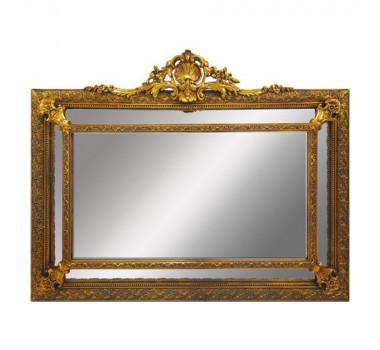 Espelho Clássico Moldura Retângulas Decorativa em Resina Dourada