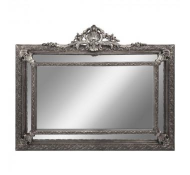Espelho Clássico Decorativo Retangular Moldura em Resina Prateada