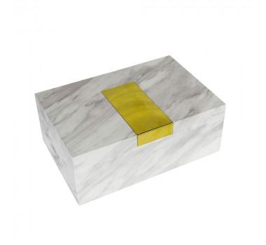caixa-decorativa-em-madeira-com-revestimento-marmorizado-branco-e-placa-dourada-12x30x20cm