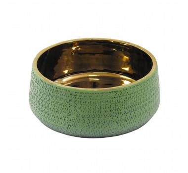 Vaso Decorativo em Cerâmica Verde - 10x24x24cm