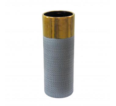 Vaso Decorativo em Cerâmica Grande Cinza - 38x14x14cm