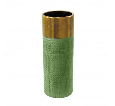 Vaso Decorativo em Cerâmica Grande Verde - 38x14x14cm