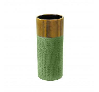 Vaso Decorativo em Cerâmica Médio Verde - 30x12cm