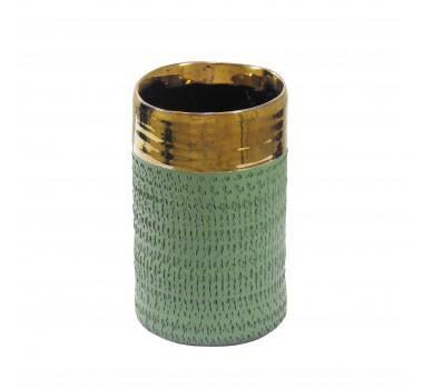 Vaso Decorativo em Cerâmica Pequeno Verde - 18x11cm